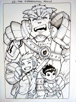 Inktober 22 - The Intergalactic Family - 2017 by Hedrick-CS