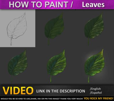 How to paint in photoshop  Leaves TUTORIAL by JesusAConde