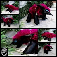 Handmade OOAK Pink and Black floppy dolls by SonsationalCreations
