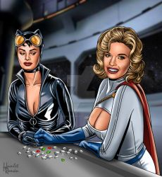 CATWOMAN and POWERGIRL- Sophia and Jayne version by hamletroman