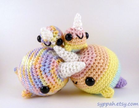 Pastel Rainbow Narwhal Family by syppahscutecreations