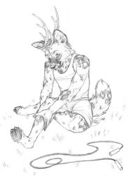 Wild Dog Deer - Sketch by GoldenDruid