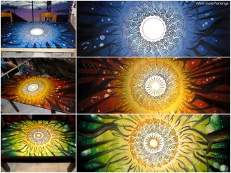 Moon and Sun in the forest (painted tables) by WormholePaintings