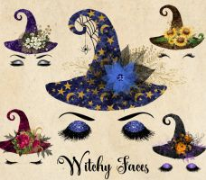 Witchy Faces - Halloween Clipart by DigitalCurio