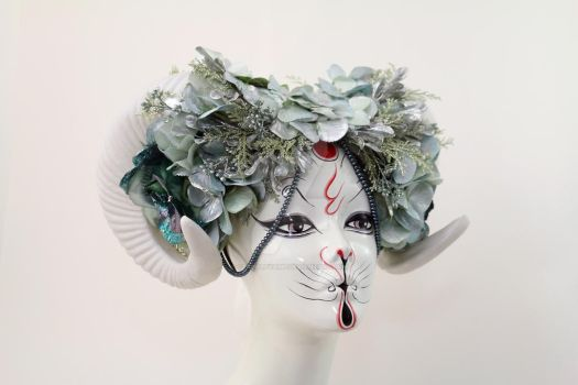 Spring Goddess Vegan Ram Headdress by ctrlaltvamp