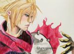 Kingdom Hearts - Cloud Strife by kirstenmarquisart