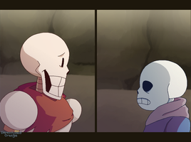 glitchtale papyrus and sans redraw by Stereotyped-Orange