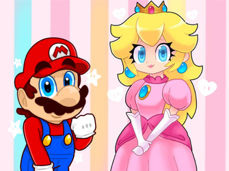 Mario and Peach Collab by TemmieSkyie