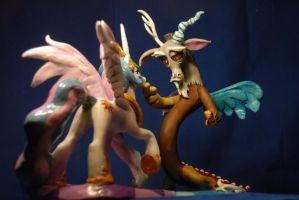 MLP - Celestia and Discord Sculpture - again by Miki-