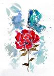 Rose and Butterfly Watercolor - ZeichenbloQ.de by MarcHorn
