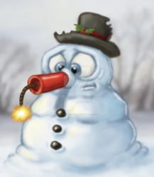 Snowman with Dynamite Nose by stuartmcghee