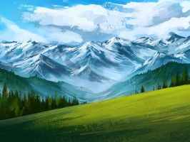 Northern call: Mountain view by Chickenbusiness