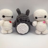Baby Baymax and Totoro amigurumi by StitchedLoveCrochet