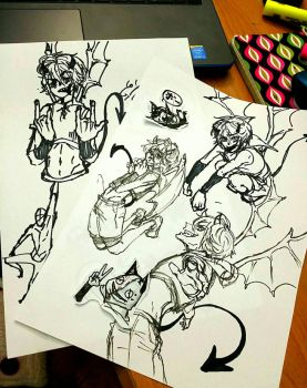 OC Devil/demon(?) pracrice paper by animesplocher
