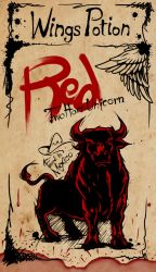 Red Two Horn Unicorn (Wings Potion Label) by High-Bear
