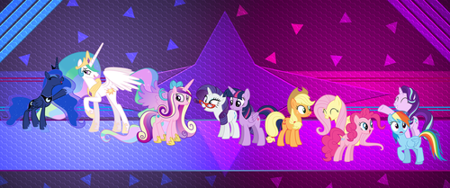 Princesses and the Mane 7 by Laszl