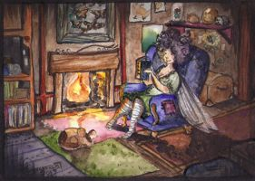 Thistle and Pishkin by the fire by harusame