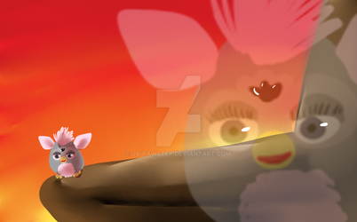 Furby on Pride Rock after losing a Bet by JB-Pawstep