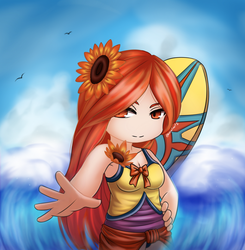 League of Legends - Pool Party Leona Chibi by HecatiArtz