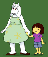toriel and kid by theultimatenootnoot
