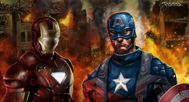 Captain America and Iron Man by holyghost13th
