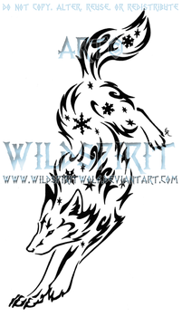 Leaping Snowflake Wolf Design by WildSpiritWolf