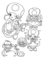 Female Toad Toadstool Doodles by Bowser2Queen