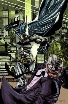 Batman vs classic Joker in color by stockyboy