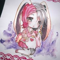 Chibi watercolor commission by Inntary