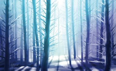 Snowy Forest by elainechen