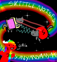 NYAN CAT VS SKITTLE KITTY LAZER EYES BATTLE by DuskDragonXIII