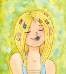 Girl with flower in her mouth by Daina-Lockie