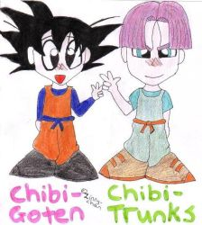 Chibi Goten and Trunks by Zinny-chan