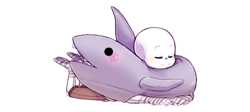 Newton with his shark plushie by Kaweii