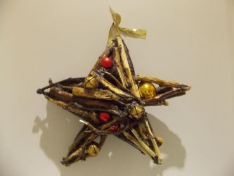 Drifwood Deadwood Star with Baubles + Bells by TheRaggleTaggleGypsy