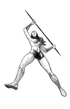 Wonder Woman with a spear (sketch) by ElForeman