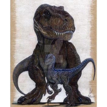 Blue The Velociraptor and Rexy The Queen by Arietteforce