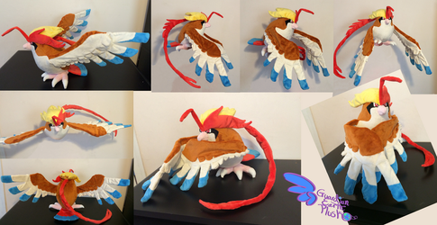 Mega Pidgeot! Poseable Wings Tail and Head Feather by GuardianEarthPlush