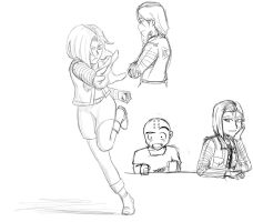 Android 18 - Sketches by A-Fistful-Of-Kittens