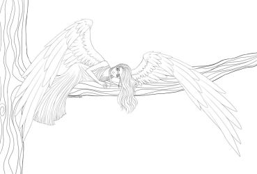 Forest Angel Lineart by ChildOfMoonlight