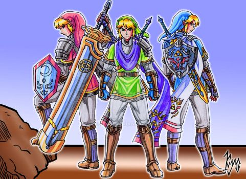 Hyrule Warriors Link in three versions by kyo-domesticfucker