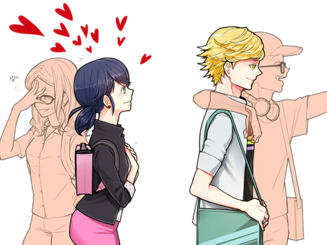 Vector Marinette,Adrien,Alya and Nino by Kenma12