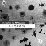 Bullet Holes Photoshop and GIMP Brushes by redheadstock