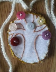 Mini Embroidered Tree with Buttons Necklace by technicolorcrafts