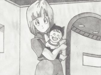 Bulma and Baby Trunks by oxShayxo