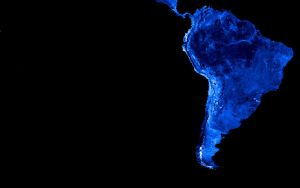 South America in blue by k33l0r
