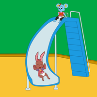 Katie and Amy going down the slide -By lilLilly- by DanielMania123