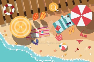 Summer beach - flat design by BlueLela