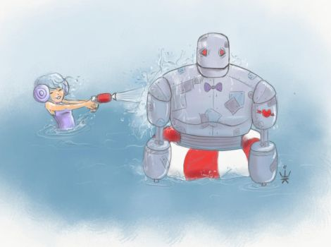 Water Fun With Robot by Kirana