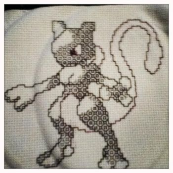 Finished Blackwork Mewtwo by Piixe